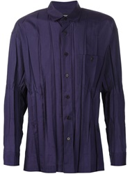 Issey Miyake Wrinkled Shirt Pink And Purple