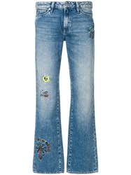 Mira Mikati Embroidered Detail Bootcut Jeans Blue