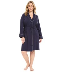 Lauren Ralph Lauren Plus Size Essentials Quilted Collar And Cuff Robe Navy Women's Robe