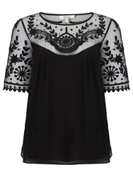 Alice By Temperley Somerset By Alice Temperley Embroidered Silk Top Black