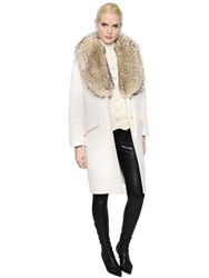 Ermanno Scervino Wool And Alpaca Coat W Fox Fur Collar