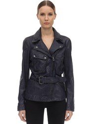 Belstaff Belted Leather Biker Jacket Black