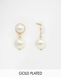 Erin Elizabeth For Johnny Loves Rosie Isobel Faux Pearl Drop Earrings Cream