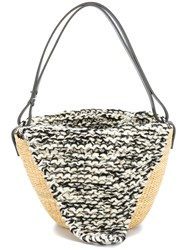 Muun Knit Top Woven Tote Leather Wool Straw Nude Neutrals