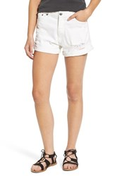 Women's Cheap Monday 'Donna' Distressed Rolled Denim Shorts White Repair