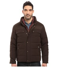 Cole Haan Utility Down Quilted Military Jacket Espresso Men's Coat Brown