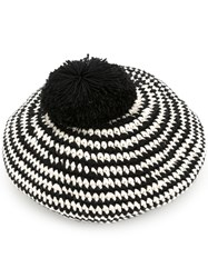 7Ii Striped Author Beret Black