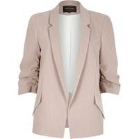 River Island Womens Pink Ruched Sleeve Blazer