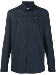 Kenzo Dragon Embroidered Shirt Blue