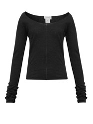 Christophe Lemaire Second Skin Scoop Neck Crepe Knit Sweater Black