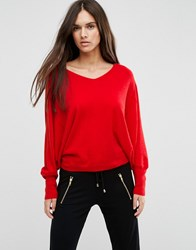 Asos Jumper With V Neck In Swing Shape Red