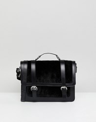 Asos Leather And Suede Mix Buckle Front Satchel Black