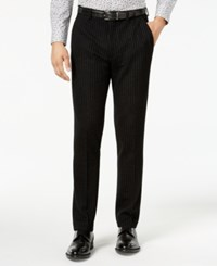 Bar Iii Men's Slim Fit Black Stripe Knit Suit Pants Created For Macy's