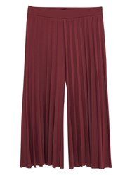 Mango Pleated Capri Trousers Dark Red