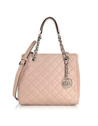 Michael Kors Susannah Small Ballet Pink Quilted Leather Tote Nude