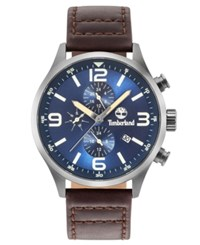 Timberland Men's Rutherford Mahogany Brown Leather Strap Watch 45Mm