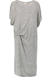 By Malene Birger Tatian Draped Slub Linen Jersey Midi Dress Gray