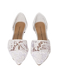 Pixie Market White Lace Pointy Flats