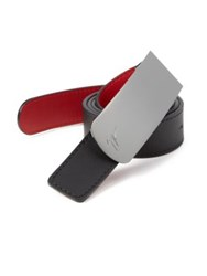Giuseppe Zanotti Engraved Buckle Leather Belt White Gold Black Red