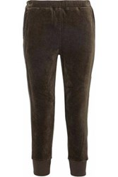 Vince Stretch Cotton Velour Track Pants Army Green
