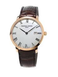 Frederique Constant Slimline Stainless Steel And Leather Strap Watch Rose Gold