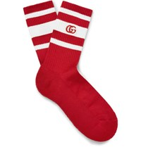 Gucci Ebroidered Striped Stretch Cotton Blend Socks