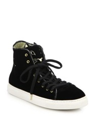 Charlotte Olympia Purrrfect Cat Embroidered Velvet Sneakers Black