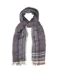 Brunello Cucinelli Striped Linen Scarf Blue Multi