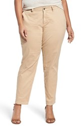 Sejour Plus Size Women's Stretch Cotton Ankle Pants Tan Sesame