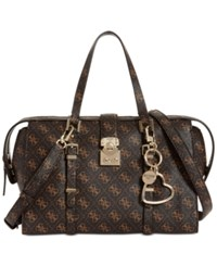 Guess Joslyn Medium Signature Satchel Brown