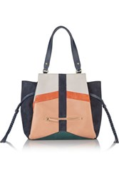 Jerome Dreyfuss Anatole Paneled Suede And Pebbled Leather Tote Navy