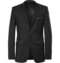 Givenchy Black Slim Fit Chain Trimmed Wool And Mohair Blend Suit Jacket Black