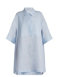 Acne Studios Sena Li Point Collar Linen Shirtdress Light Blue