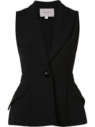 Carolina Herrera Single Button Peplum Vest Black