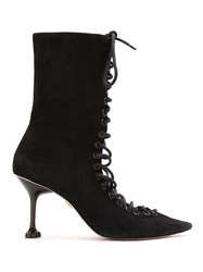 Andrea Bogosian Suede Lace Up Boots Black