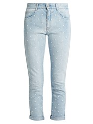Stella Mccartney Star Embroidered Skinny Leg Boyfriend Jeans Light Blue