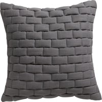 Cb2 Mason Quilted Grey 18'' Pillow With Down Alternative Insert
