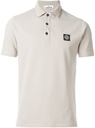 Stone Island Logo Patch Polo Shirt Nude And Neutrals