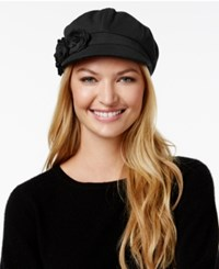 August Hats Artisanal Trims Flower Newsboy Cap Black