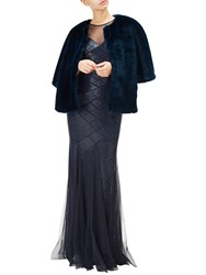 Adrianna Papell Faux Fur Wrap Midnight Blue