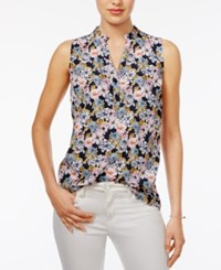 Maison Jules Floral Print Ruffle Neck Top Only At Macy's Blu Notte