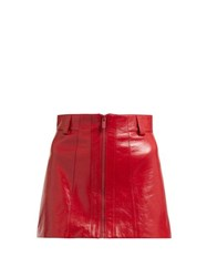 Miu Miu Crackled Leather Mini Skirt Red