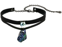 Leather Rock N249 Black Abalone Necklace