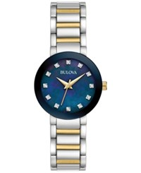 Bulova Women's Diamond Accent Two Tone Stainless Steel Bracelet Watch 26Mm 98P157 Two Tone