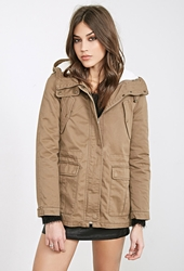 Forever 21 Faux Shearling Hooded Parka