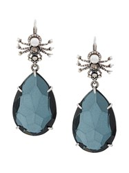Alexander Mcqueen Spider And Crystal Pendant Earring Blue