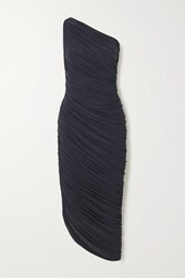 Norma Kamali Diana One Shoulder Ruched Stretch Jersey Dress Gray