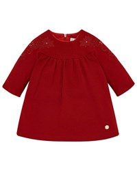 Pili Carrera Long Sleeve Knit Dress W Flower Embroidery Red