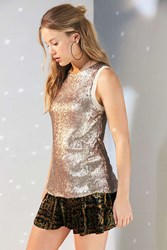 Silence And Noise Sparkle Shine Sequin Tank Top Gold