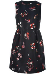 Red Valentino Floral Print Flared Dress Black